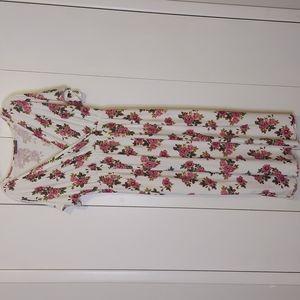 Myth Floral Print Faux Wrap Empire Waist Maxi Dress Size 3X White Pink Green